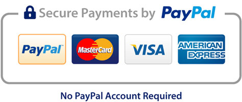 Secure Payments by PayPal inc Mastercard, Visa, American Express